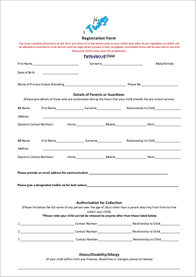 Twigs Autism Friendly Registration Form